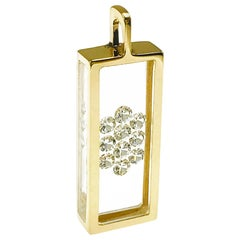 Floating Ten-Diamond Pendant 14 Karat Gold