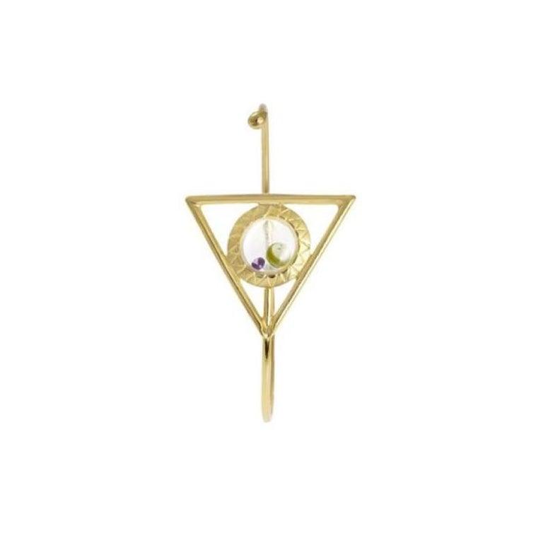 Art Deco Floating Triangle Bracelet in Gold For Sale
