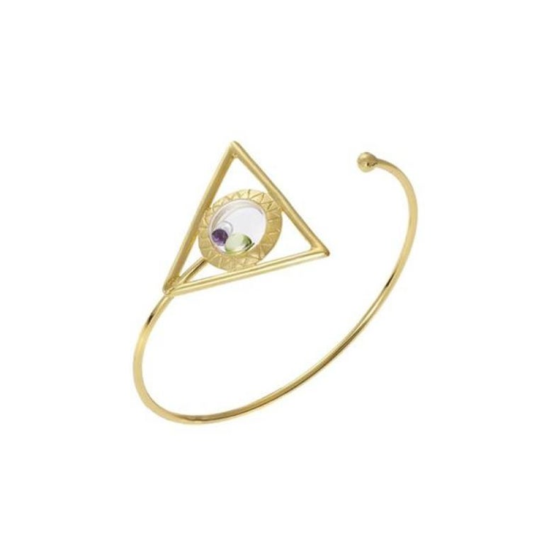 Floating Triangle Bracelet in Gold For Sale