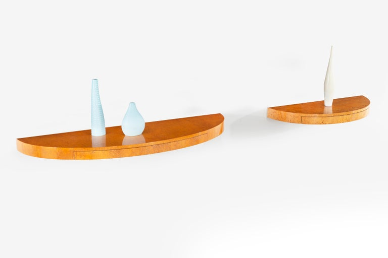 Mid-20th Century Floating Wall Console Demilune by Edward Wormley for Dunbar