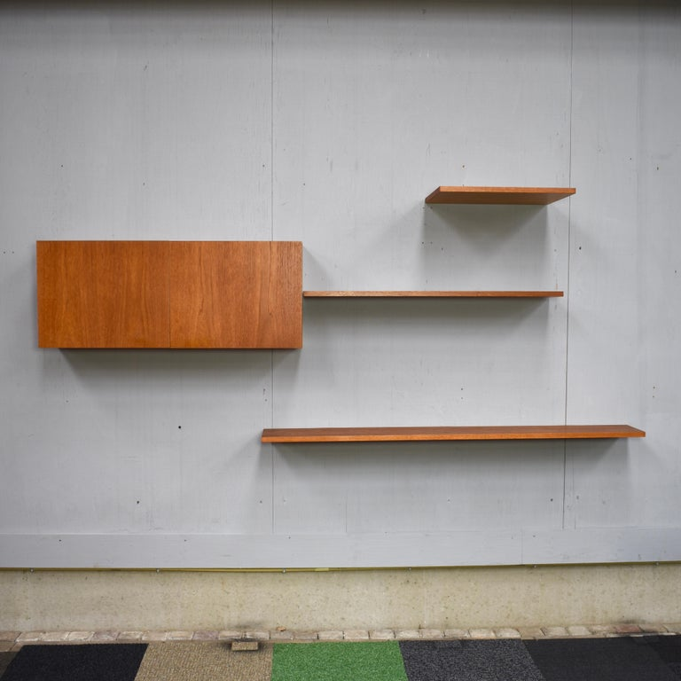 Mid-Century Modern Floating Wall Unit in Teak by Banz Bord, Germany, circa 1970 For Sale