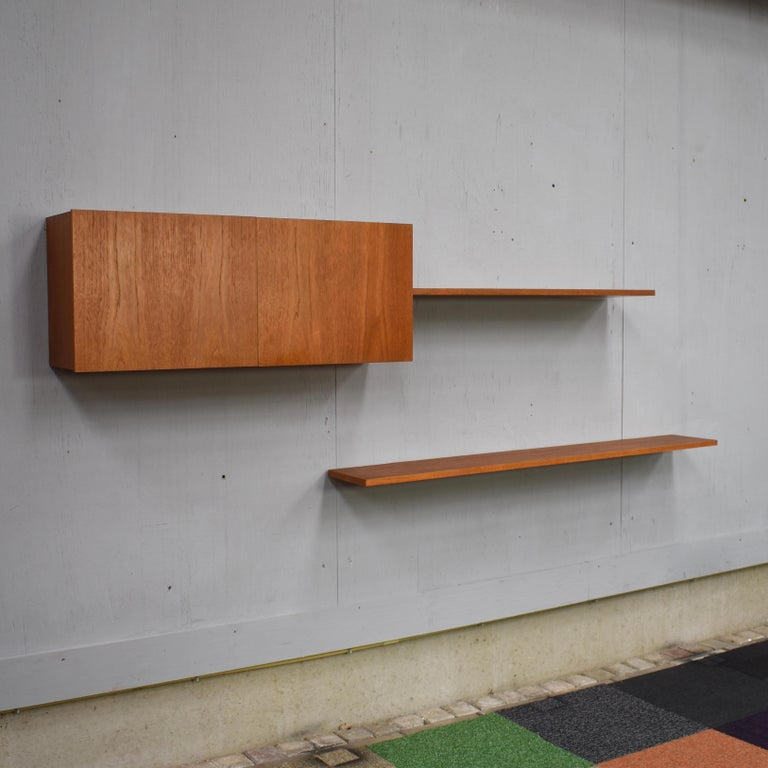 Late 20th Century Floating Wall Unit in Teak by Banz Bord, Germany, circa 1970 For Sale