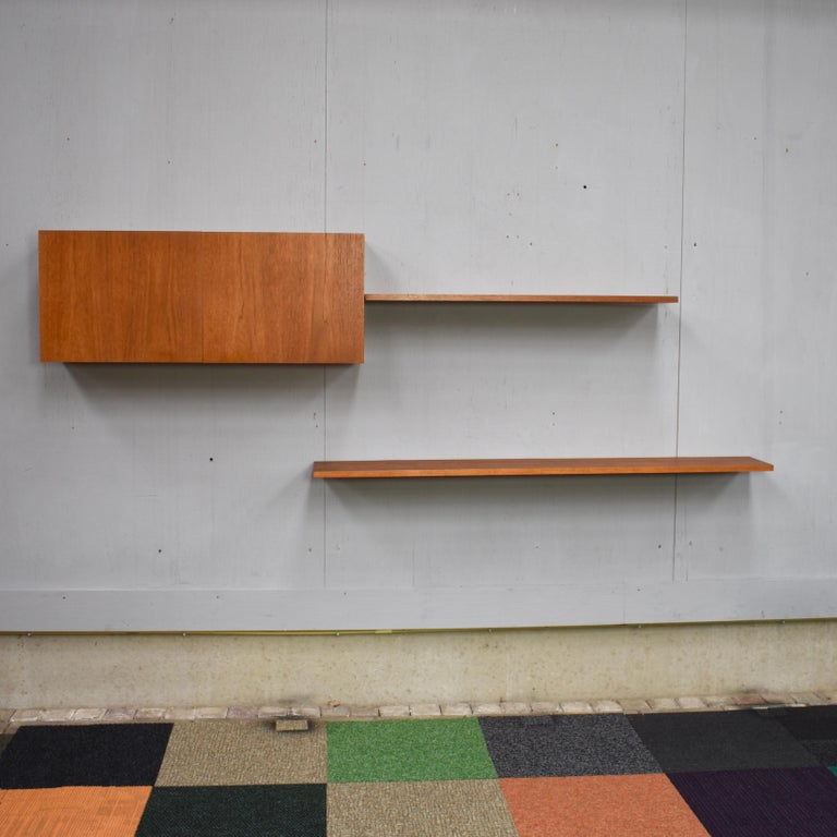 Floating Wall Unit in Teak by Banz Bord, Germany, circa 1970 For Sale 1