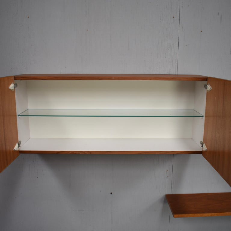 Floating Wall Unit in Teak by Banz Bord, Germany, circa 1970 For Sale 3