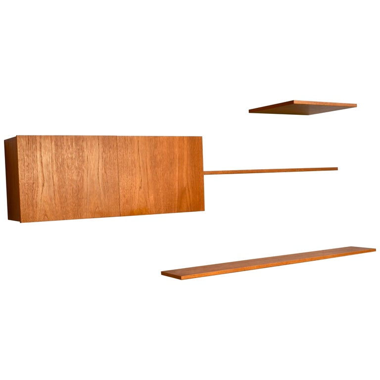 Floating Wall Unit in Teak by Banz Bord, Germany, circa 1970 For Sale