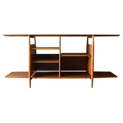 Floating Walnut Bookcase or Media Cabinet, circa 1965