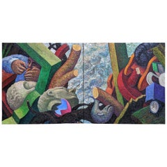 Flood 1986 by Robert Jessup Oil on Linen Diptych Abstract Figures