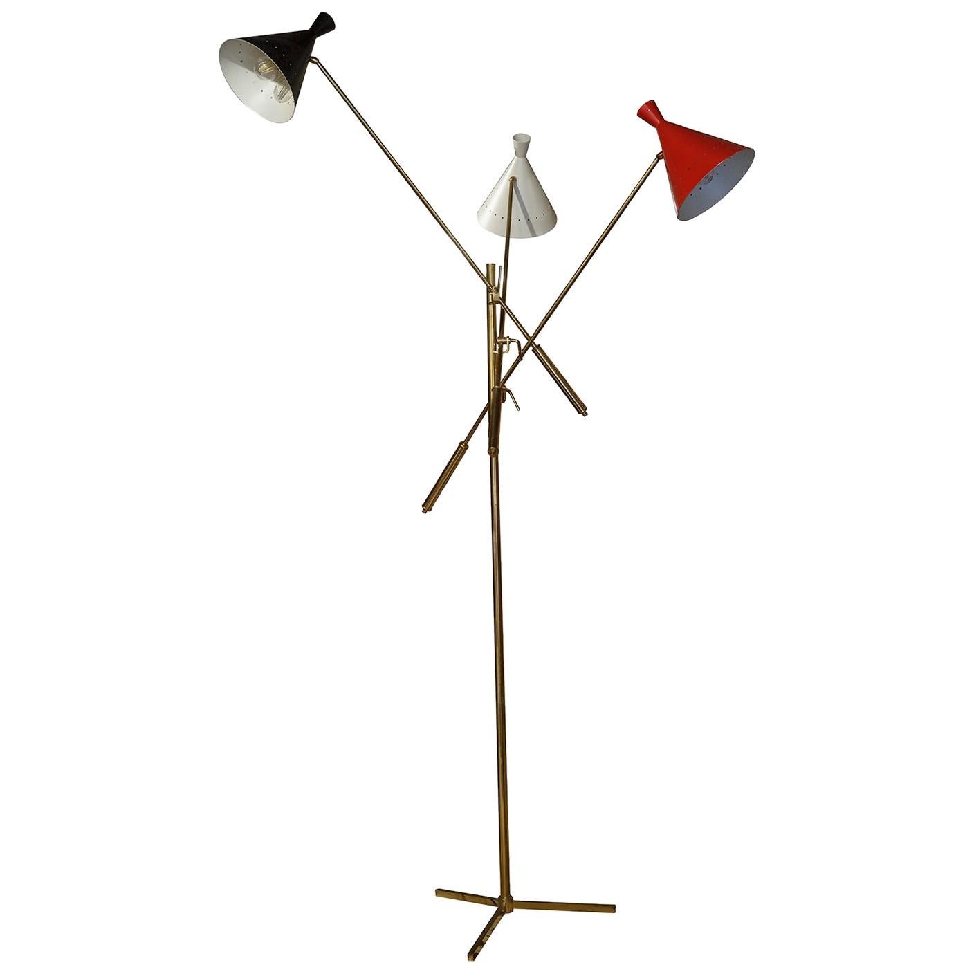 Floor Brass and Painted Metal Lamp Trifase Style Decoration