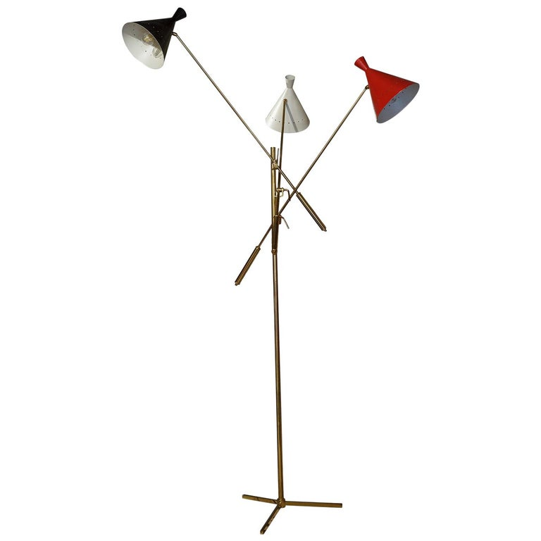 Floor Brass and Painted Metal Lamp Trifase Style Decoration Mid-Century Modern For Sale