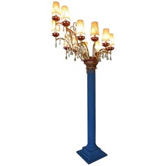 Floor Crystal Chandelier with 12 Lights from the Lido, 1940s