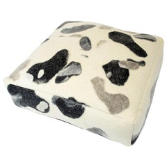 Floor Cushion in Textured, Water Stones Natural Felted Fabric, Grey Large