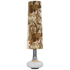 Floor Lamp with Glass Base and Fabric Shade with Floral Pattern, 1970s