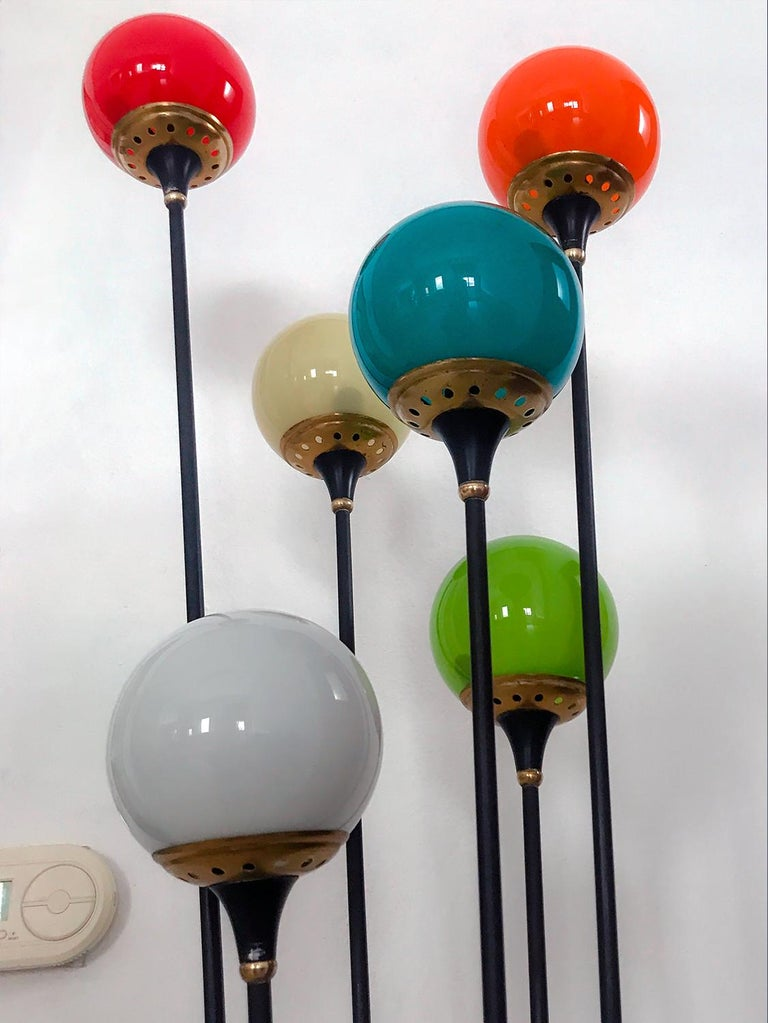 Floor Lamp 'Alberello' by Stilnovo with Six Colored Murano Glass Balls, 1950s For Sale 11