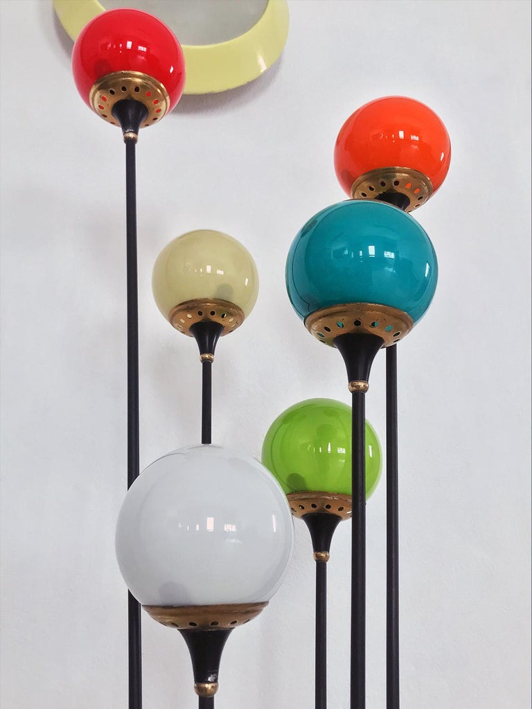 Floor Lamp 'Alberello' by Stilnovo with Six Colored Murano Glass Balls, 1950s For Sale 9