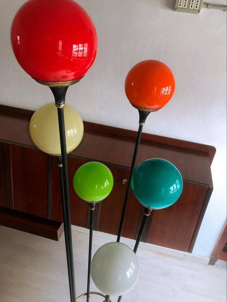 Floor Lamp 'Alberello' by Stilnovo with Six Colored Murano Glass Balls, 1950s For Sale 2