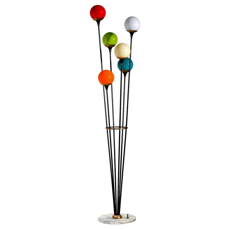 Floor Lamp 'Alberello' by Stilnovo with Six Colored Murano Glass Balls, 1950s For Sale