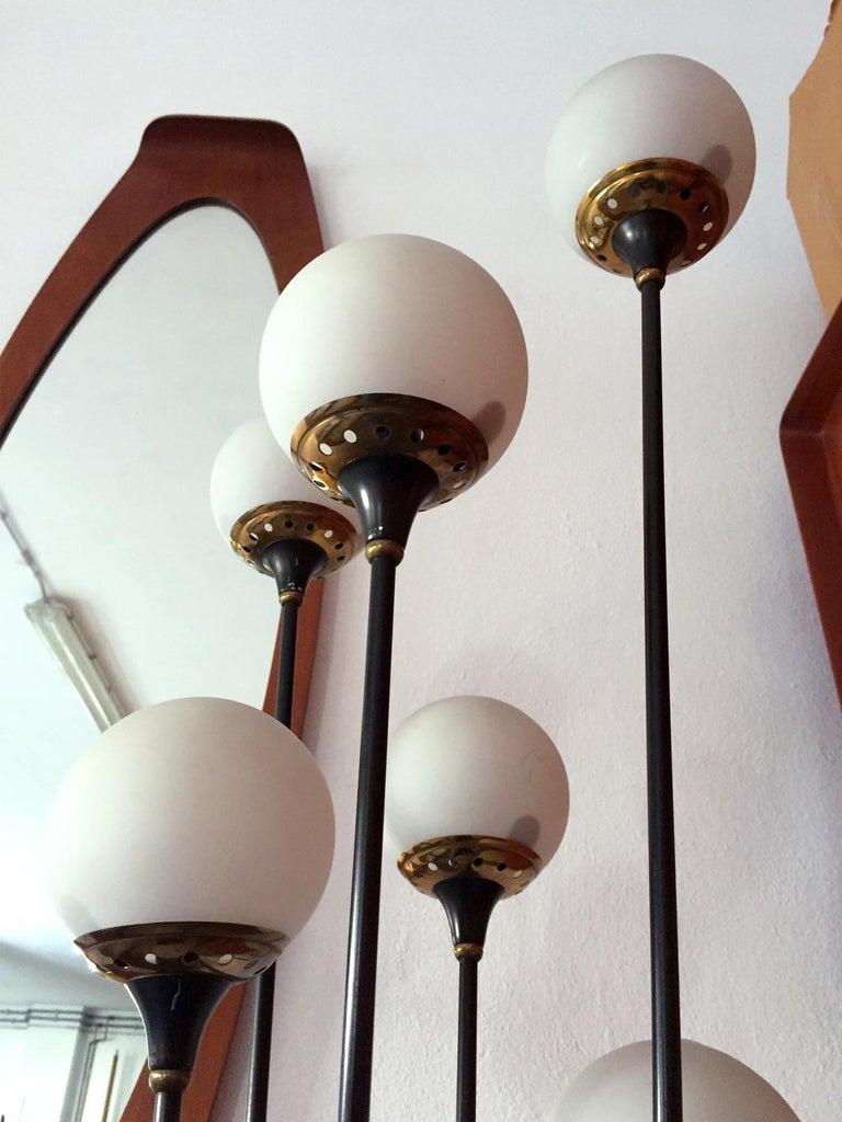 Mid-Century Modern Floor Lamp 'Alberello' by Stilnovo, Six Opaline Blown Murano Glass Balls, 1950s For Sale