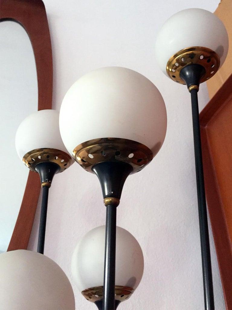 European Floor Lamp 'Alberello' by Stilnovo, Six Opaline Blown Murano Glass Balls, 1950s For Sale