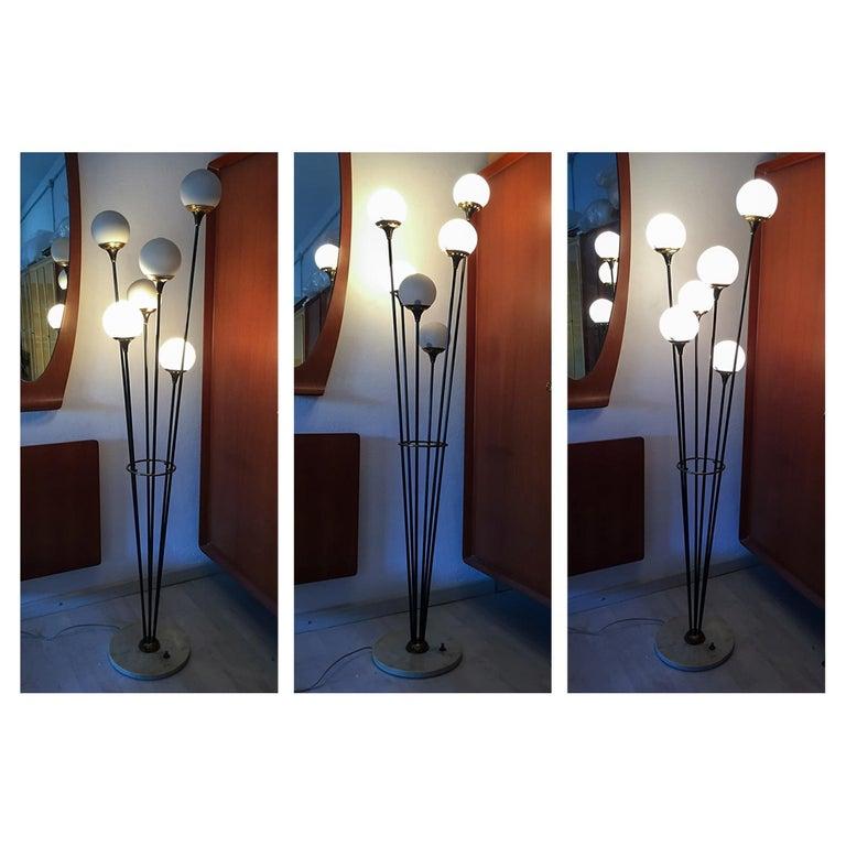 Floor Lamp 'Alberello' by Stilnovo, Six Opaline Blown Murano Glass Balls, 1950s For Sale 1