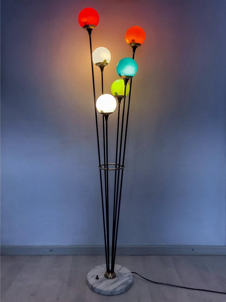 Floor Lamp 'Alberello' by Stilnovo with Six Colored Murano Glass Balls, 1950s For Sale 6