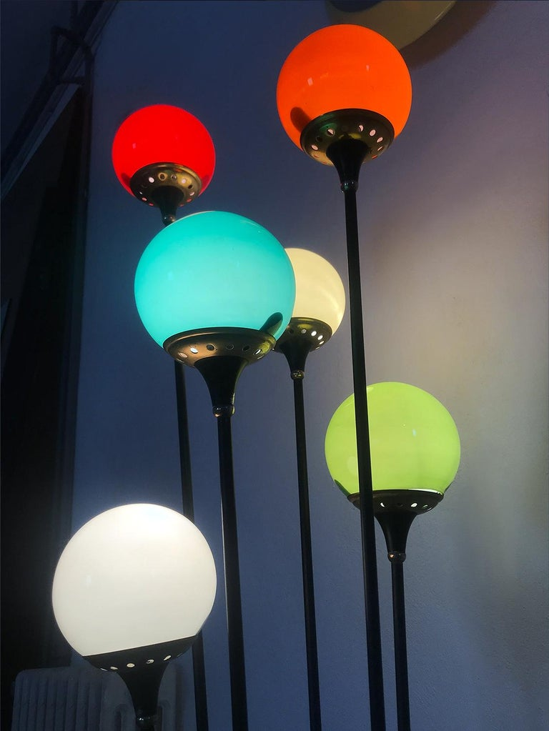 Floor Lamp 'Alberello' by Stilnovo with Six Colored Murano Glass Balls, 1950s For Sale 10