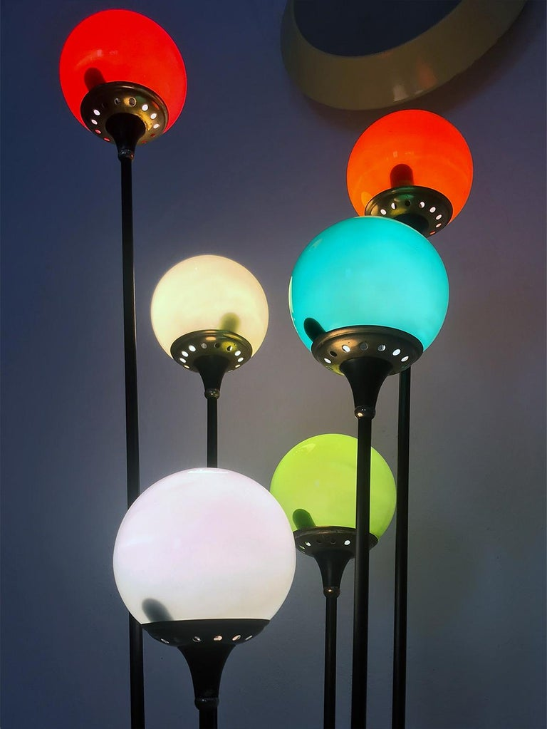Floor Lamp 'Alberello' by Stilnovo with Six Colored Murano Glass Balls, 1950s For Sale 8