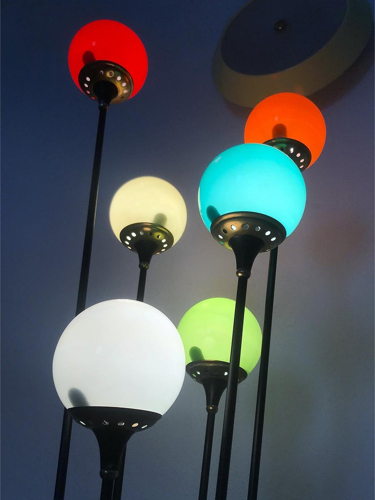 Floor Lamp 'Alberello' by Stilnovo with Six Colored Murano Glass Balls, 1950s For Sale 12
