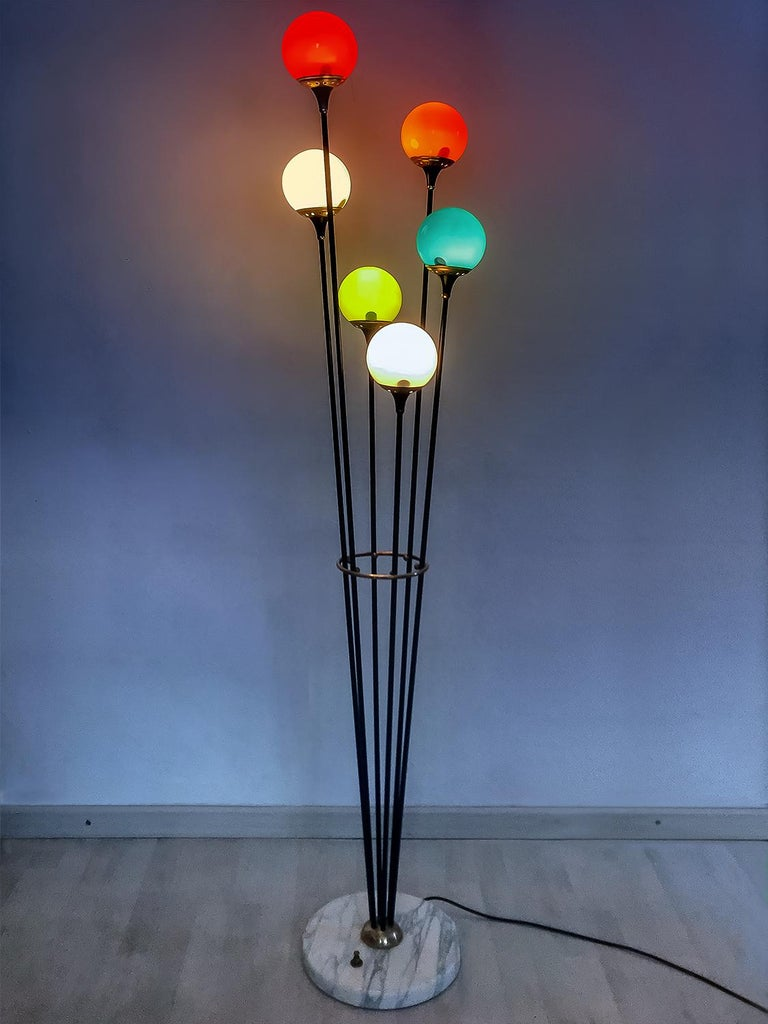 European Floor Lamp 'Alberello' by Stilnovo with Six Colored Murano Glass Balls, 1950s For Sale