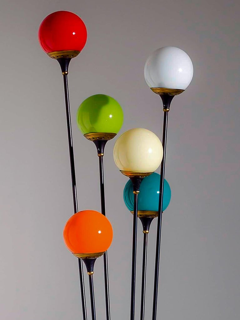 Mid-Century Modern Floor Lamp 'Alberello' by Stilnovo with Six Colored Murano Glass Balls, 1950s For Sale