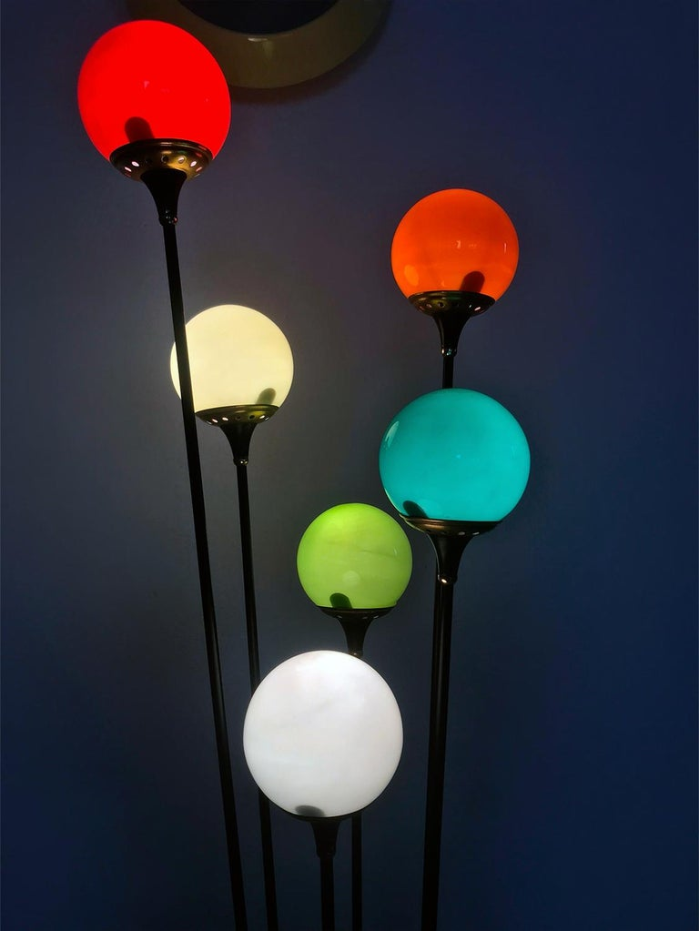 Floor Lamp 'Alberello' by Stilnovo with Six Colored Murano Glass Balls, 1950s In Good Condition For Sale In Traversetolo, IT