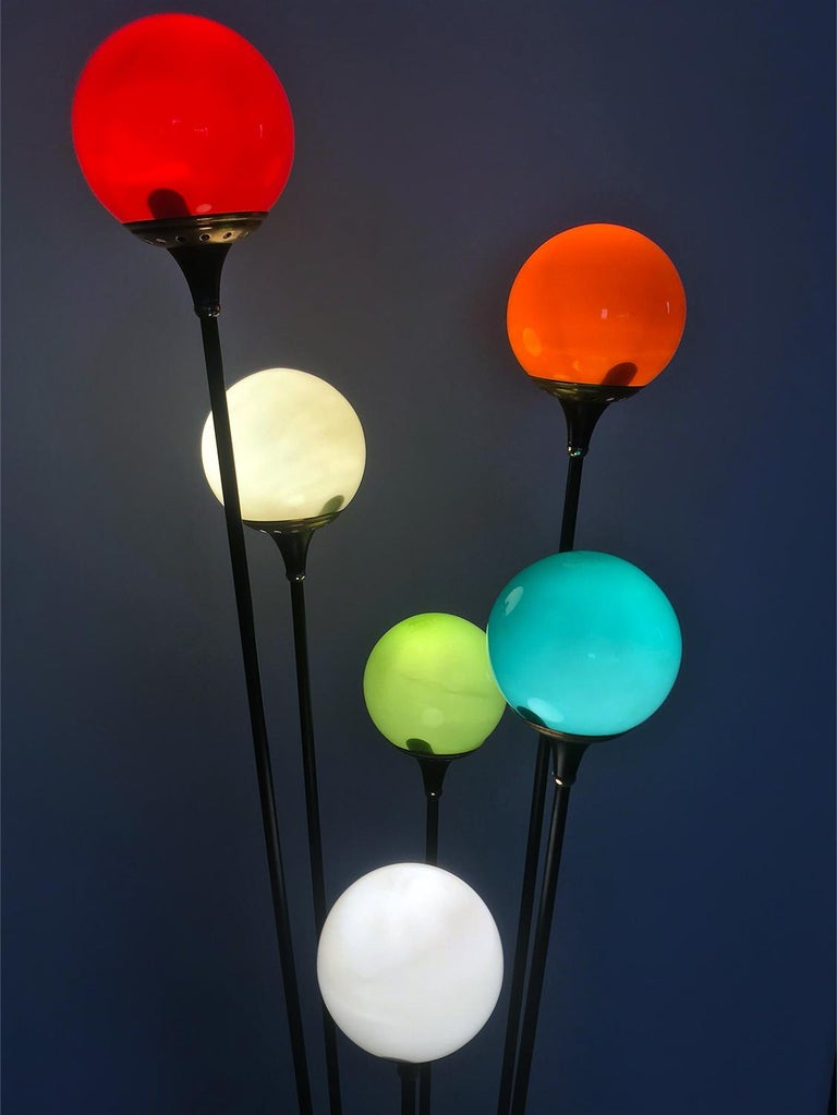 20th Century Floor Lamp 'Alberello' by Stilnovo with Six Colored Murano Glass Balls, 1950s For Sale