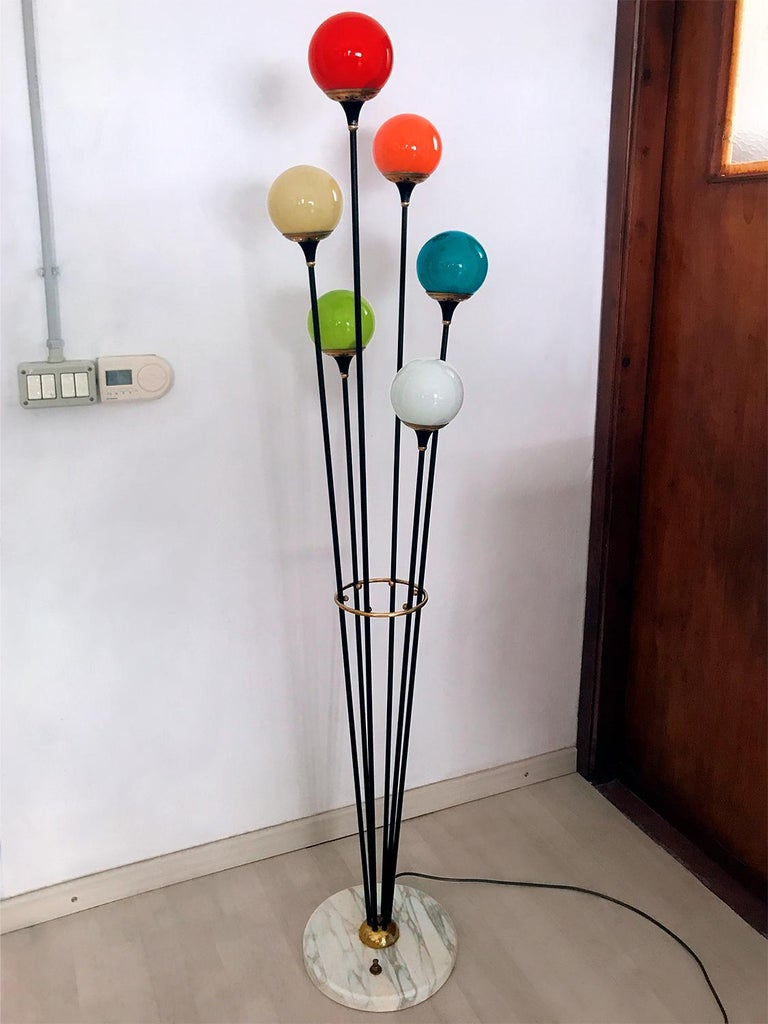 Metal Floor Lamp 'Alberello' by Stilnovo with Six Colored Murano Glass Balls, 1950s For Sale