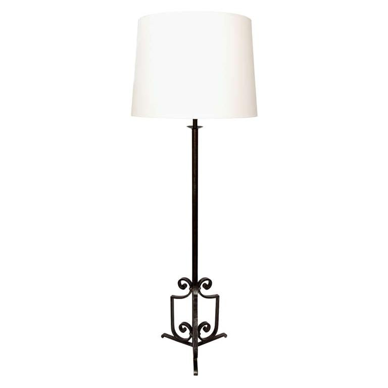 Floor Lamp Art Deco Wrought Iron, France, 1920s For Sale