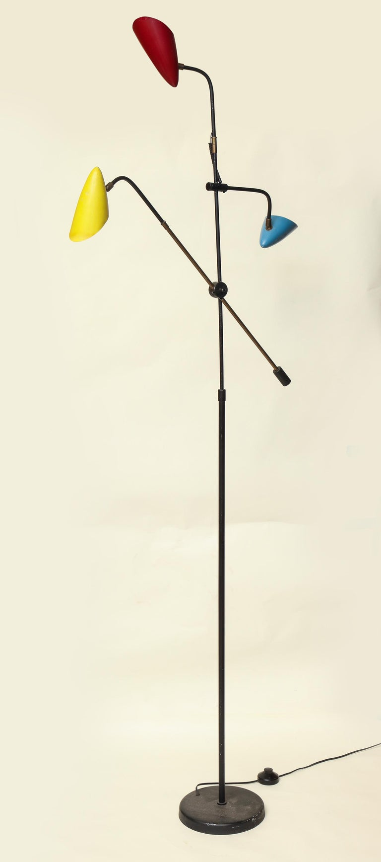 Metal Floor Lamp Articulated Sculptural Mid-Century Modern, France, 1950s For Sale