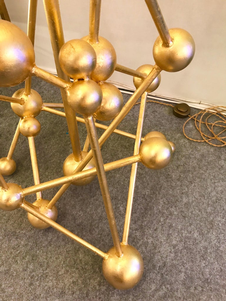 Italian Floor Lamp Atomica Iron Gold Leaf by Antonio Cagianelli, Italy, 2018 For Sale