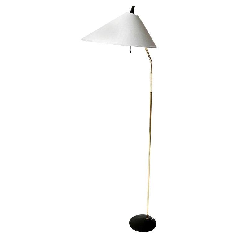 Floor Lamp, Brass Black Cast Iron, Austria, 1960 For Sale