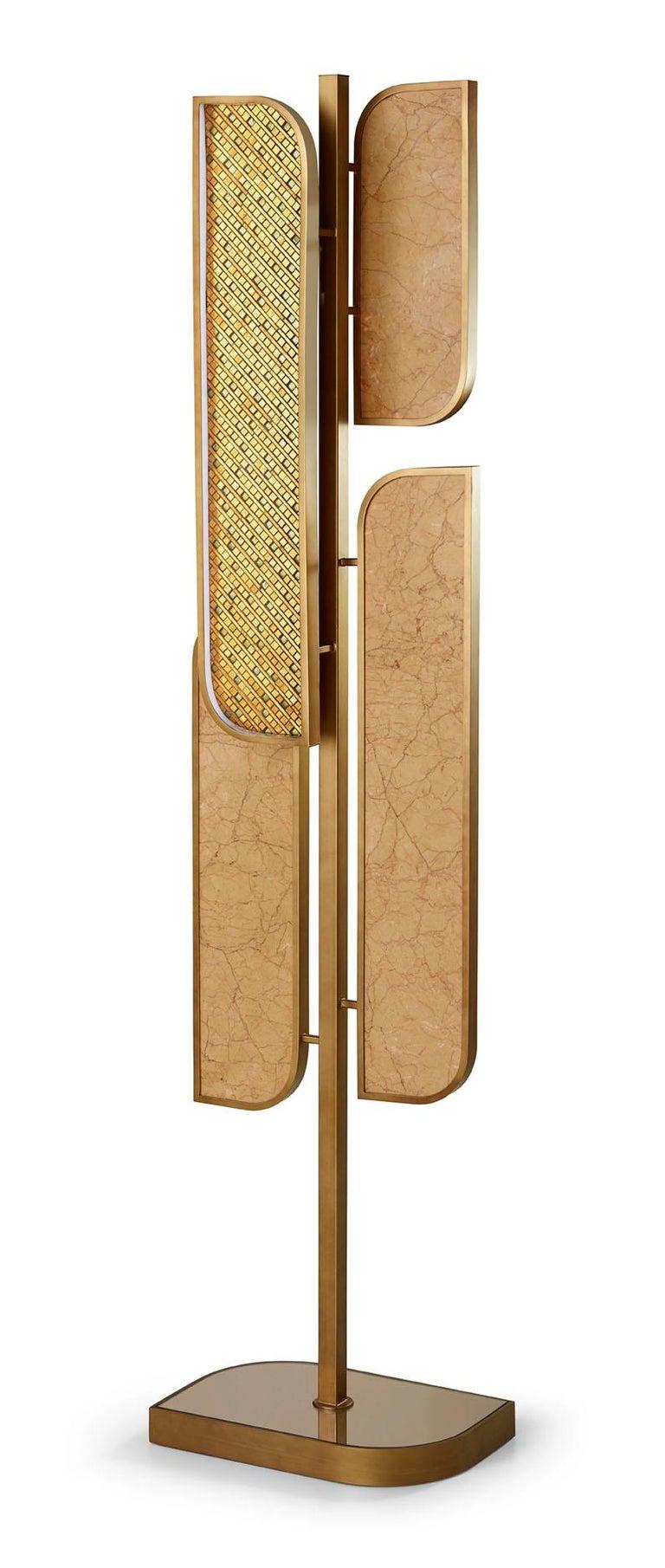 Modern Floor Lamp Brass Frame Antique Bronze or Silver Finish Decorative Insert Backlit For Sale