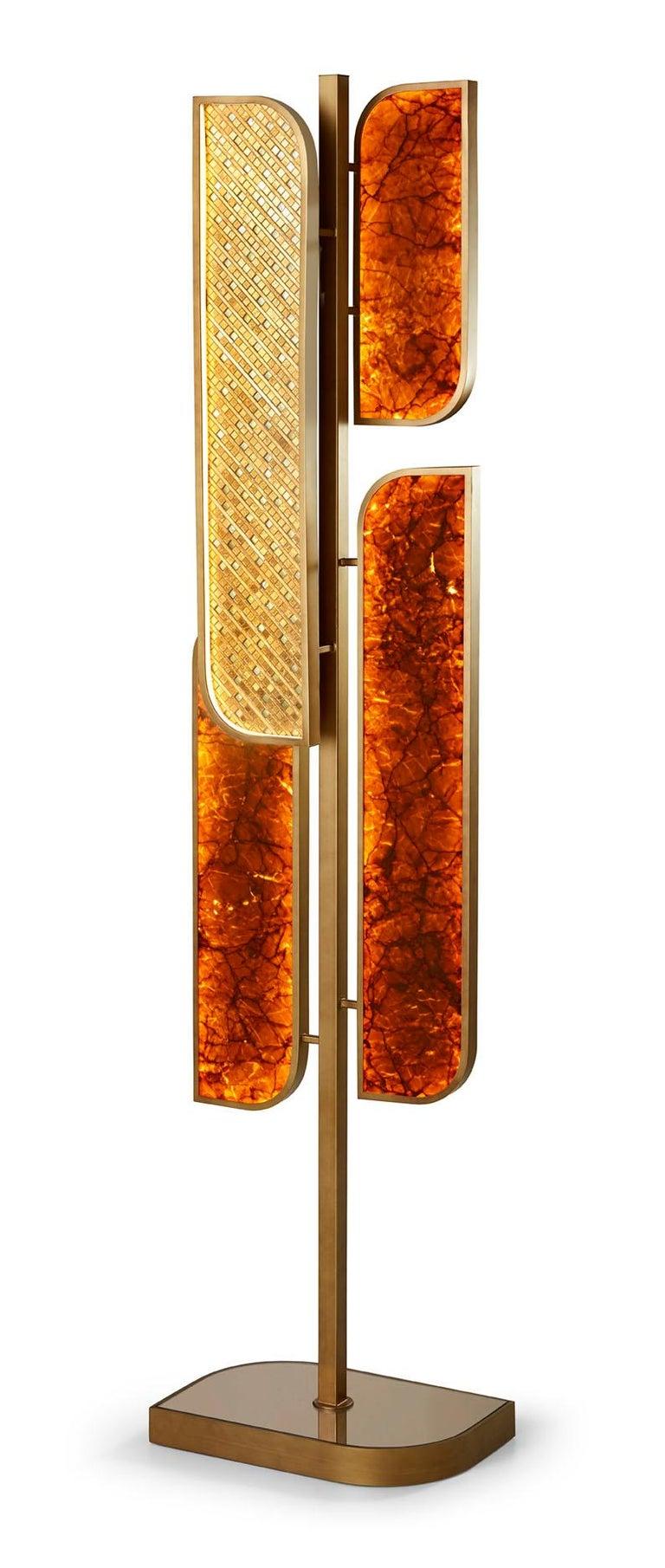Italian Floor Lamp Brass Frame Antique Bronze or Silver Finish Decorative Insert Backlit For Sale