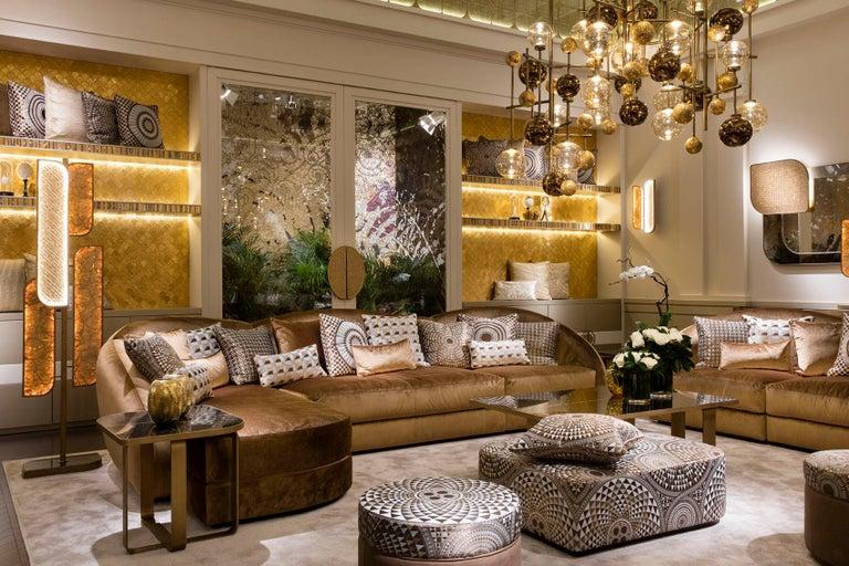 Mosaic Floor Lamp Brass Frame Antique Bronze or Silver Finish Decorative Insert Backlit For Sale