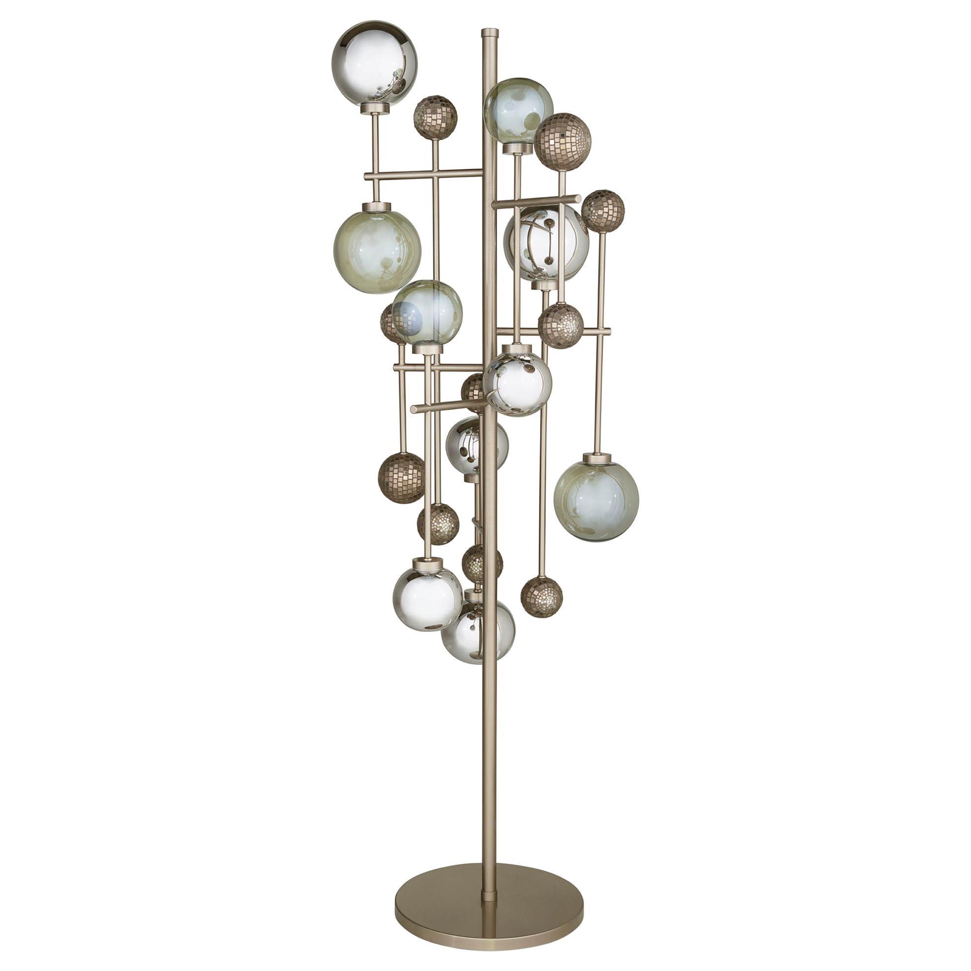 Floor Lamp Brass Frame Nickel or Brass Finish Glass Spheres Artistic Mosaic