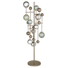 Floor Lamp Brass Frame Nickel or Brass Finish Glass Spheres Artistic Mosaic