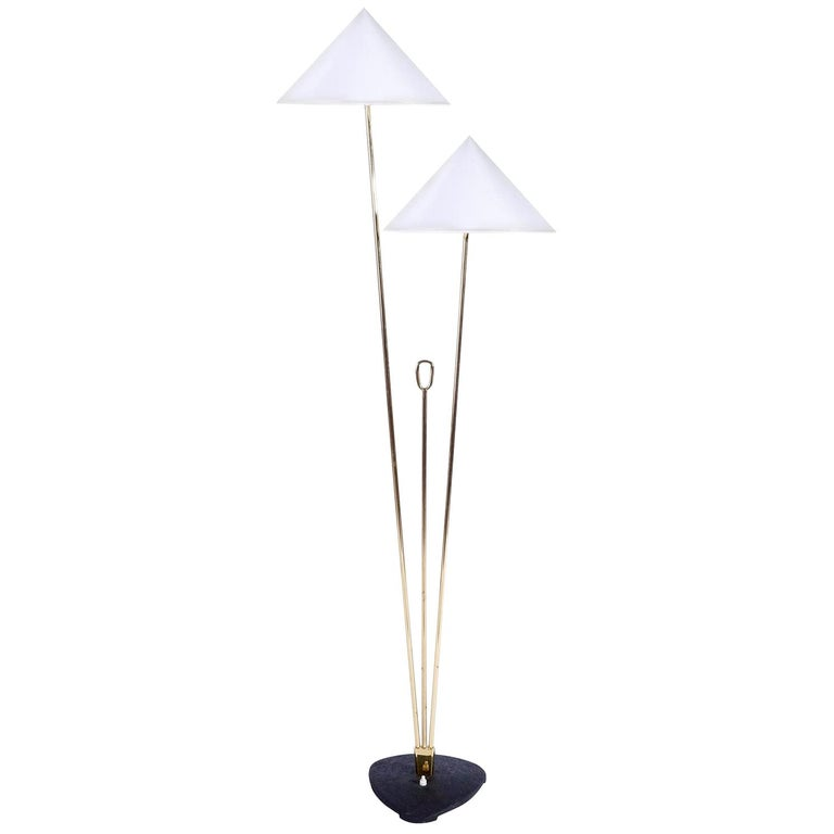 Floor Lamp by Rupert Nikoll, Brass Black Cast Metal, Austria, 1950s For Sale