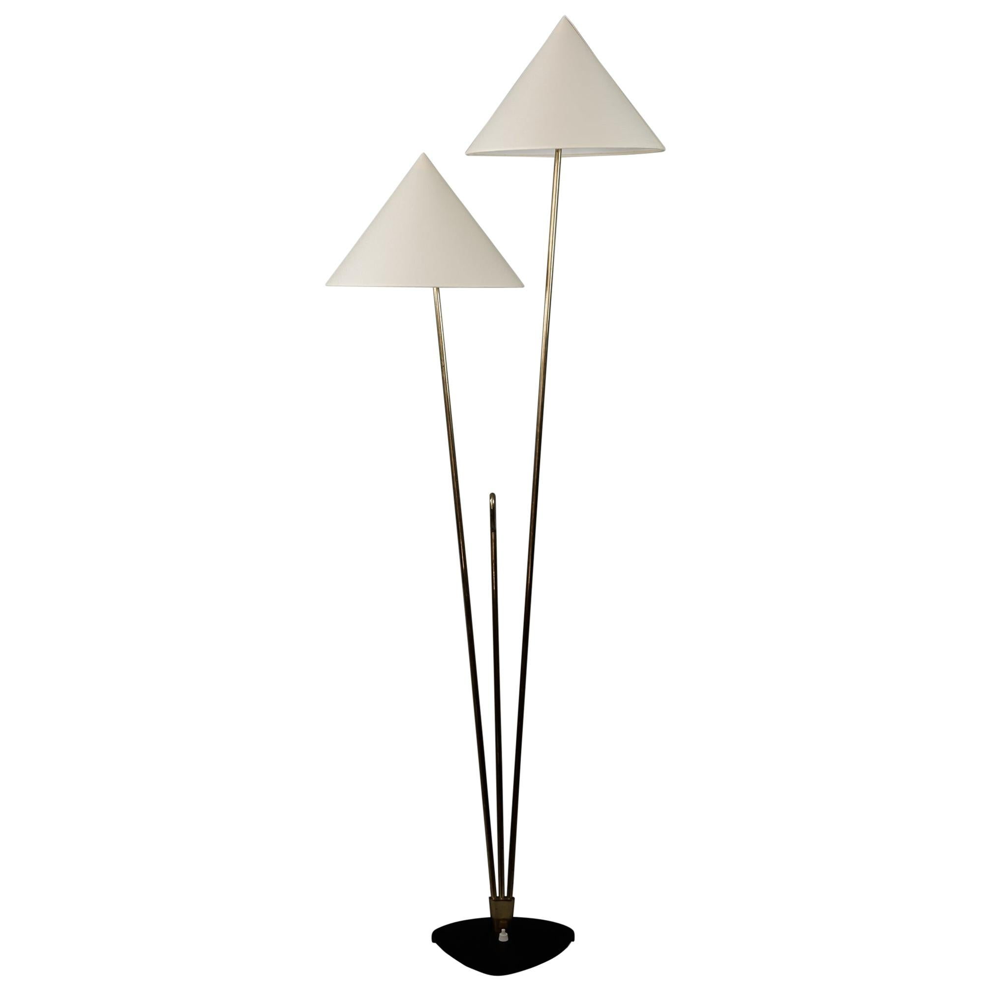Floor Lamp by Rupert Nikoll, Brass Black Cast Metal, Austria, 1960