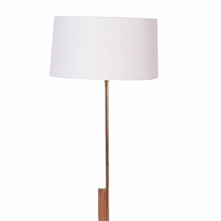 Oak, brass, steel adjustable in height floor lamp design in 1950s new shade.