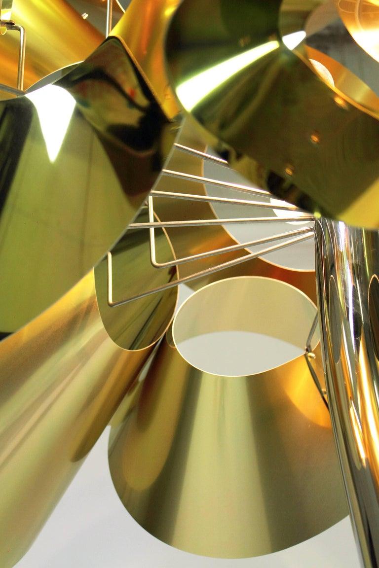 Aluminum Floor Lamp Contemporary Design Golden Steel Italian Limited Edition Design For Sale