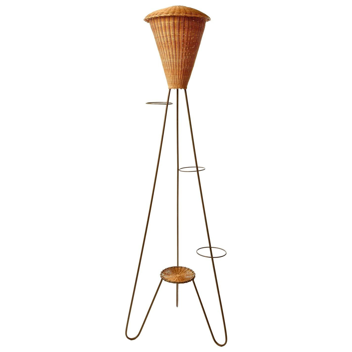 Floor Lamp Flower Stand, Patinated Brass Wicker Rattan, 1960