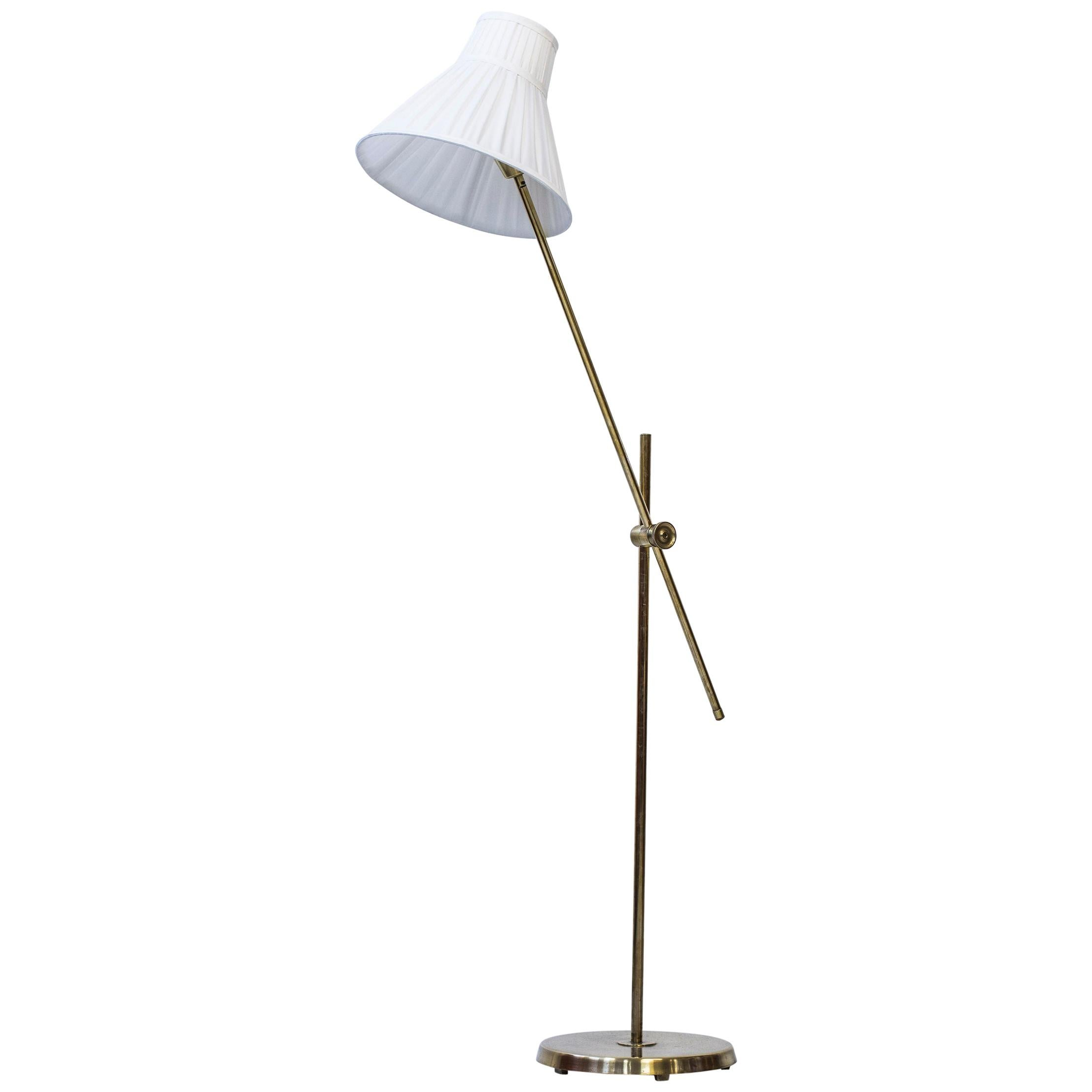 Floor Lamp in Brass and Fabric by Hans Bergström for ASEA, Sweden, 1940s-1950s