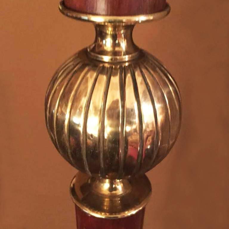 Mid-Century Modern Floor Lamp in Brass and Walnut Original, 1940s
