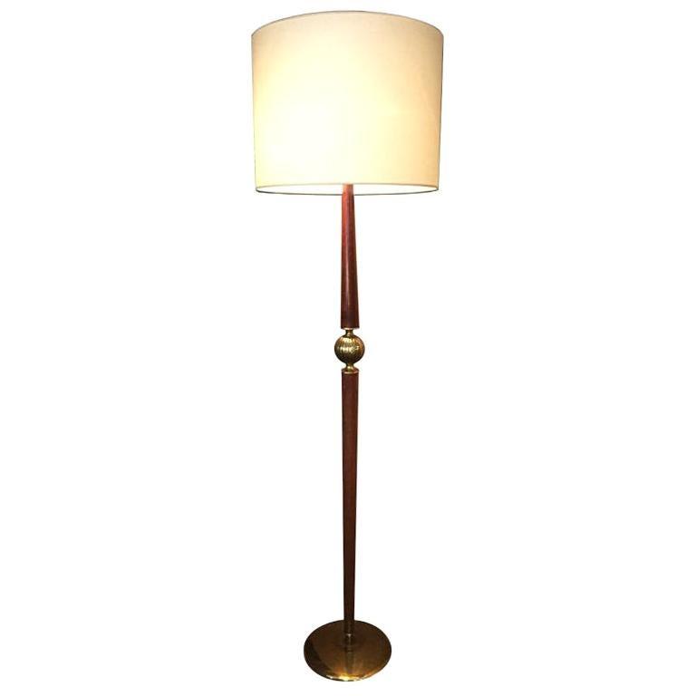 Floor Lamp in Brass and Walnut Original, 1940s