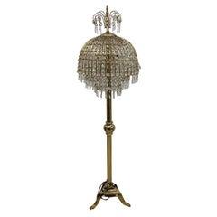 Floor Lamp in Golden Brass and Crystal of Midcentury